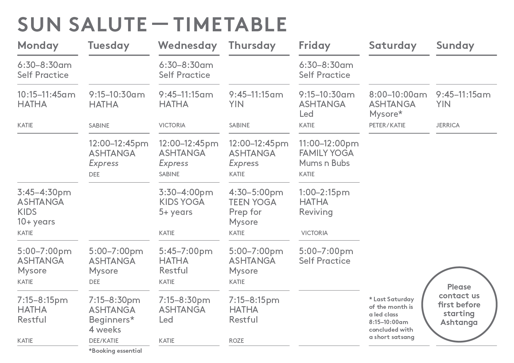 Sunsalute Timetable MAY2019